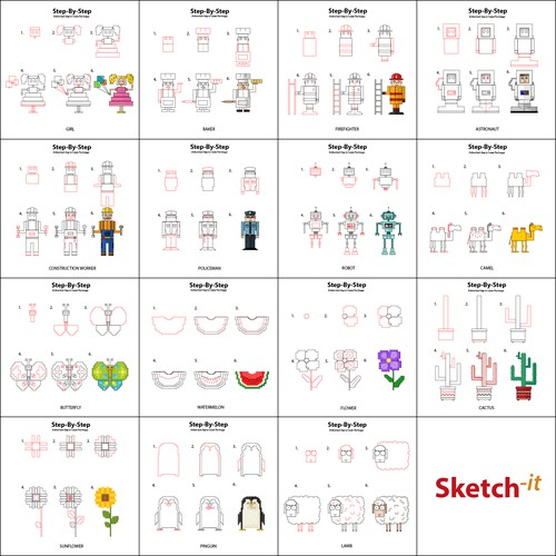 """""""Step by step"""" illustrations for the Sketch-it company"""