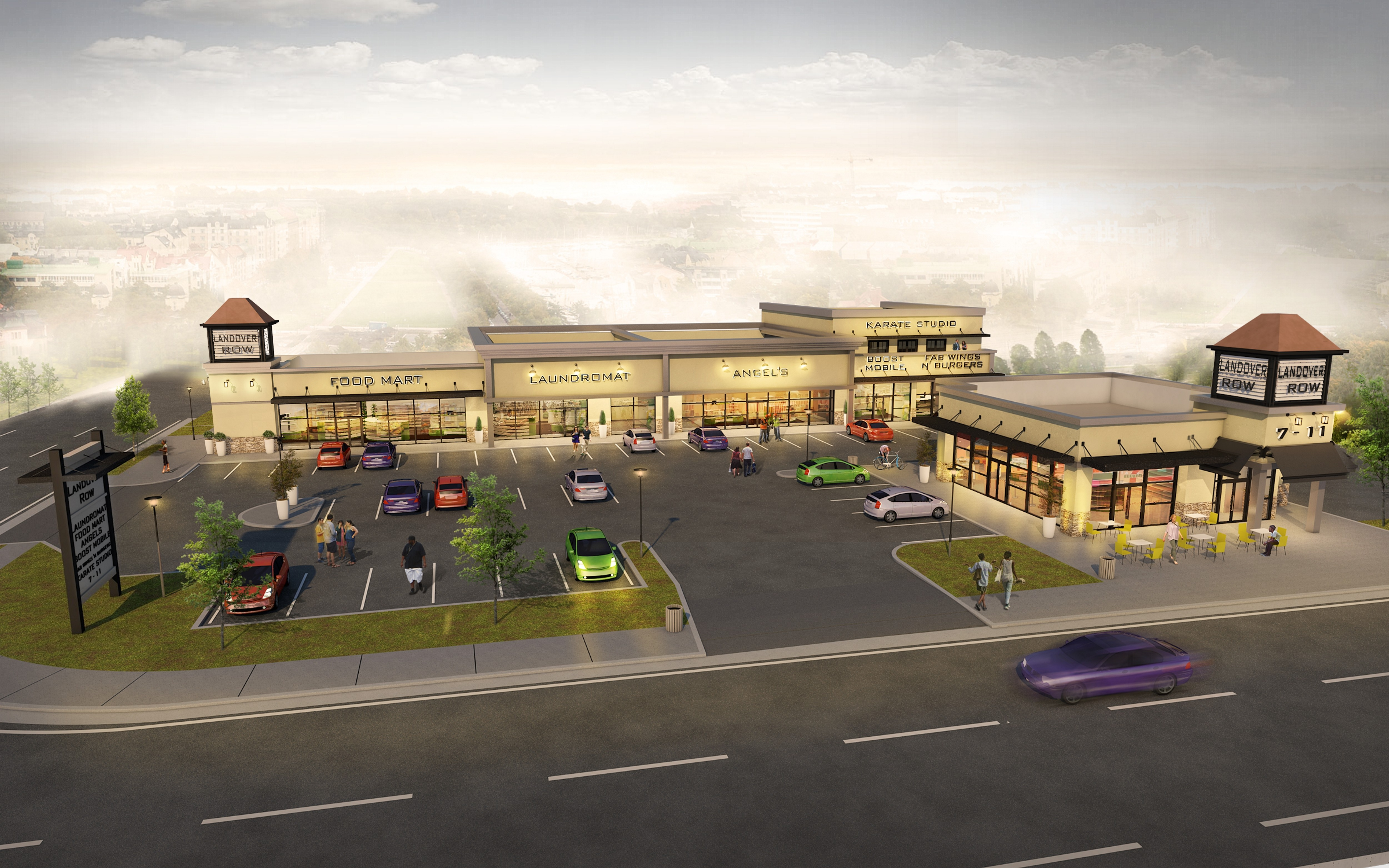 NEED MODIFICATION: Modern, Boutique Strip Mall Rendering