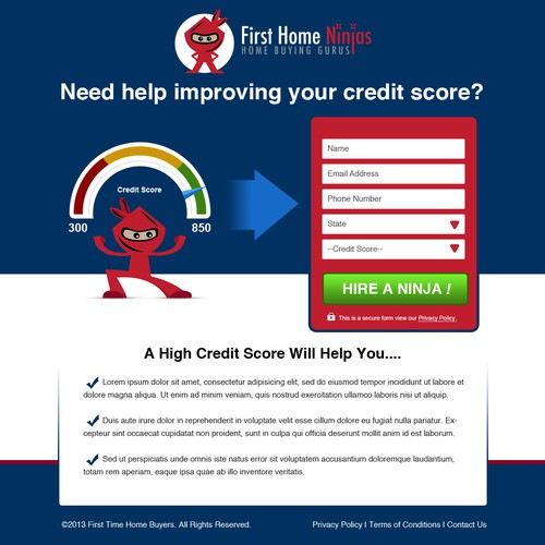 Create a credit repair landing page for FirstHomeNinjas.com