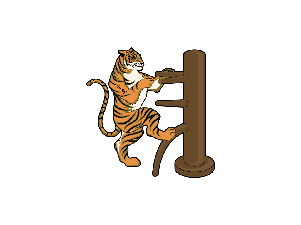 """create a tiger playing wing chun on a wooden dummy.  tiger should have """"小虎"""" tattooed on his arm"""