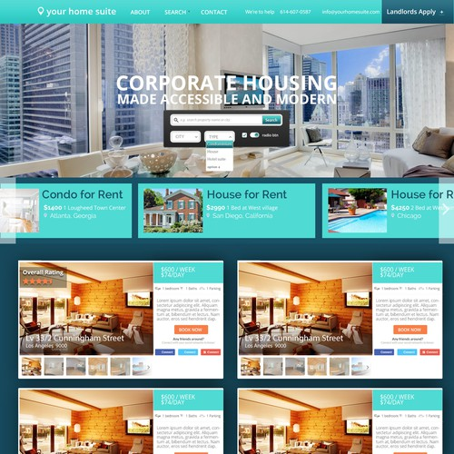 Redefine the corporate housing industry through designing a sleek, professional platform.