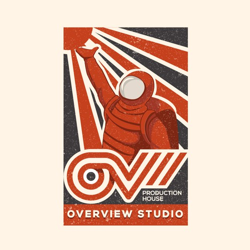 retro logo for OV (overview studio )