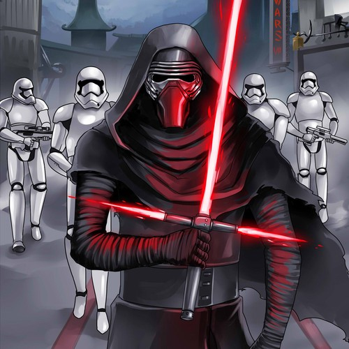 Comical illustration of Kylo Ren and Stormtroopers in line to see Star Wars VII @ Chinese Theatre