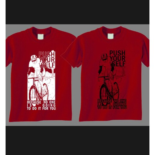 Create a unique, hip, t-shirt design for Cycling enthusiasts, with a positive feeling!
