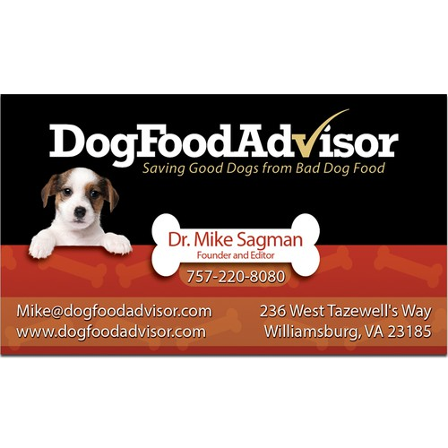 Cute Business Card for Dog Food Advisor
