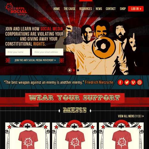 I HATE SOCIAL.COM T-Shirt /Anti Social Media Movement (SHEPARD FAIREY STYLE)