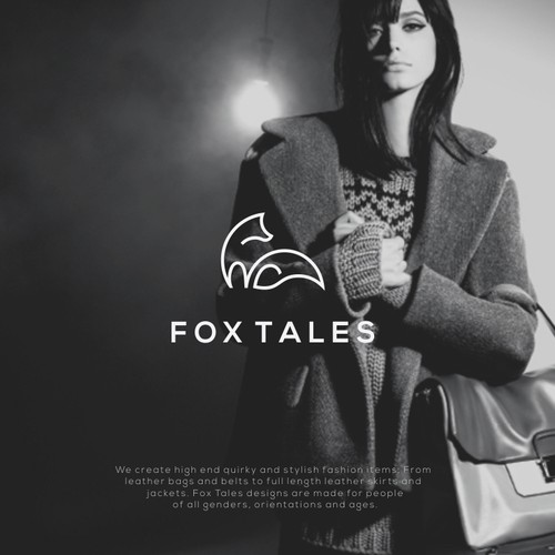 Minimal fox logo for leather brand.