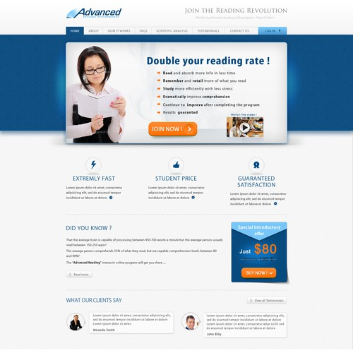 New website design wanted for Advanced Reading Performance