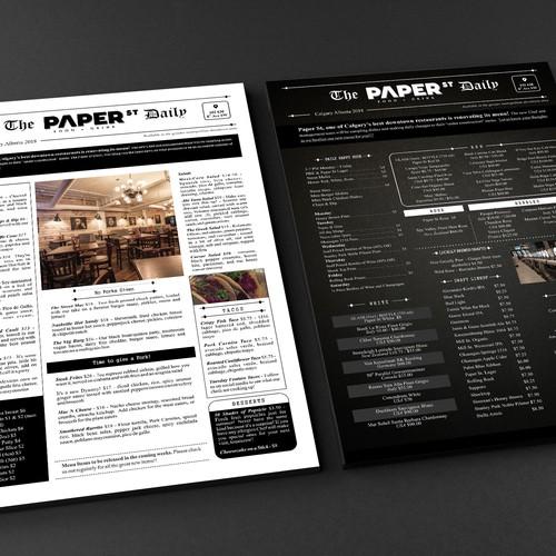 newspaper style restaurant menu