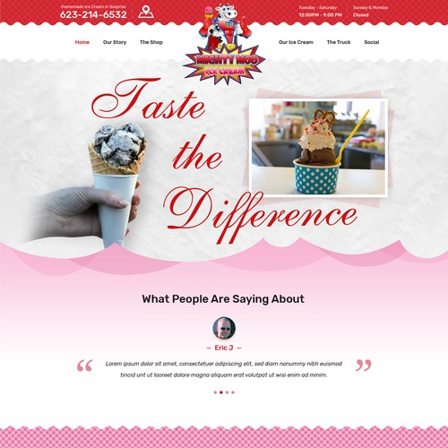 Popular Ice Cream shop needs new Website