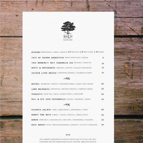Menu Design For SoLo Farm To Table Restaurant