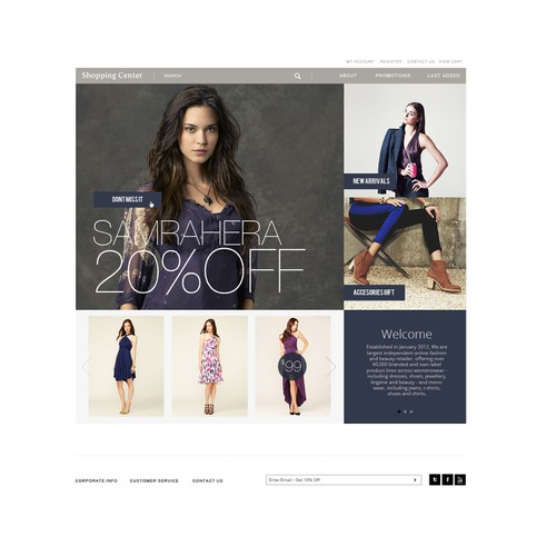 Website design for Boutique Shopping Center