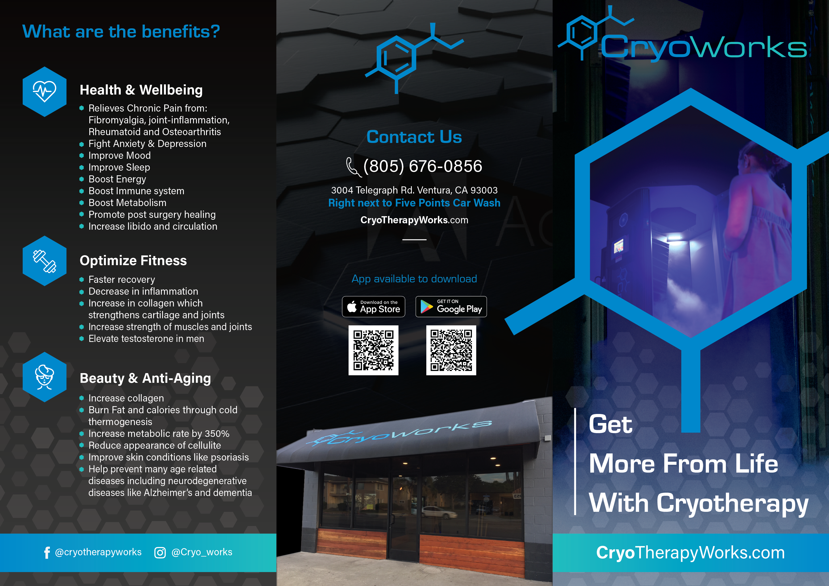 Clean, simple, and educational brochure needed for Cryotherapy business.
