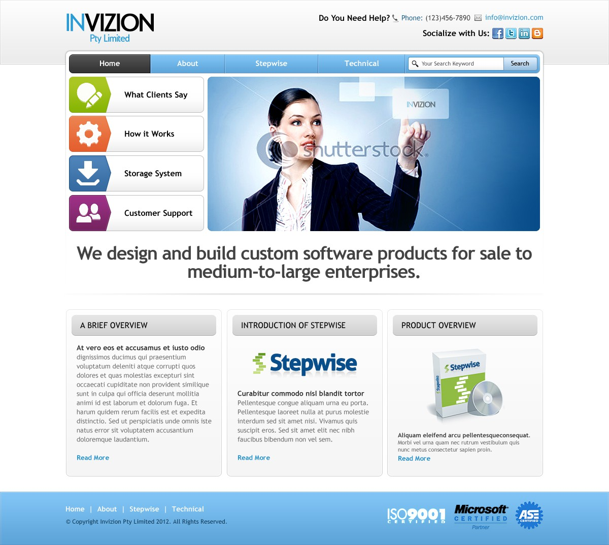 Create the next website design for Invizion Pty Limited