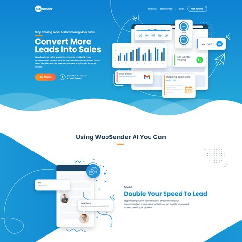 Attractive landing page for marketing automation tool