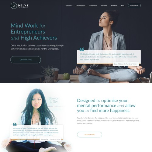 An edgy design for meditation website