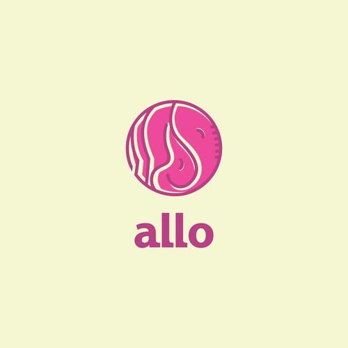 """""""Allo"""" = Cute Elephant LOVE and SNUGGLES Logo"""