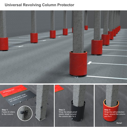 A turning column protector design and rendering.