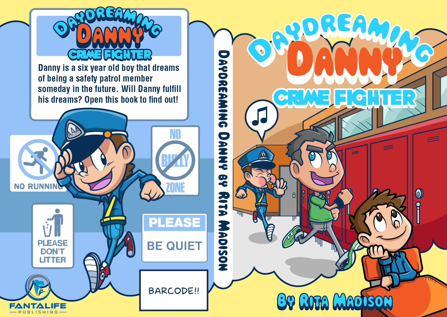 Character creation and a front cover, spine and back cover for a children's book