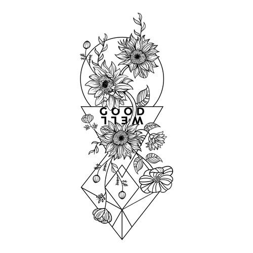 Blackwork floral forearm tattoo.
