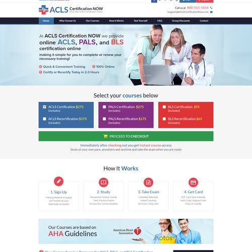 Website Design for Online Medical Training Site.