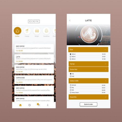 Concept for Coffee shop mobile App