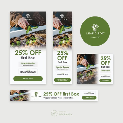 Banner Ads for Leaf'd Box (Veggie Garden Subscription Service)