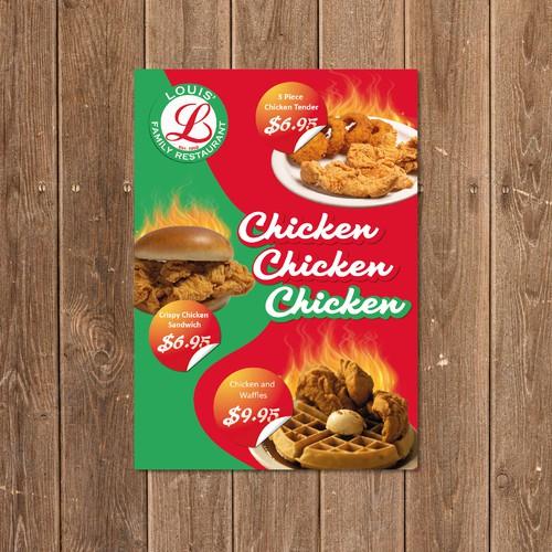 Flyer menu for fast-food restaurant