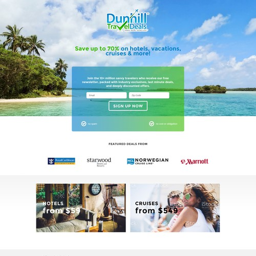 Landing page for a travel deal website.