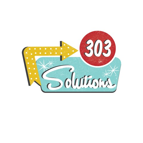 Midcentury Modern/Vintage logo for 303 Solutions