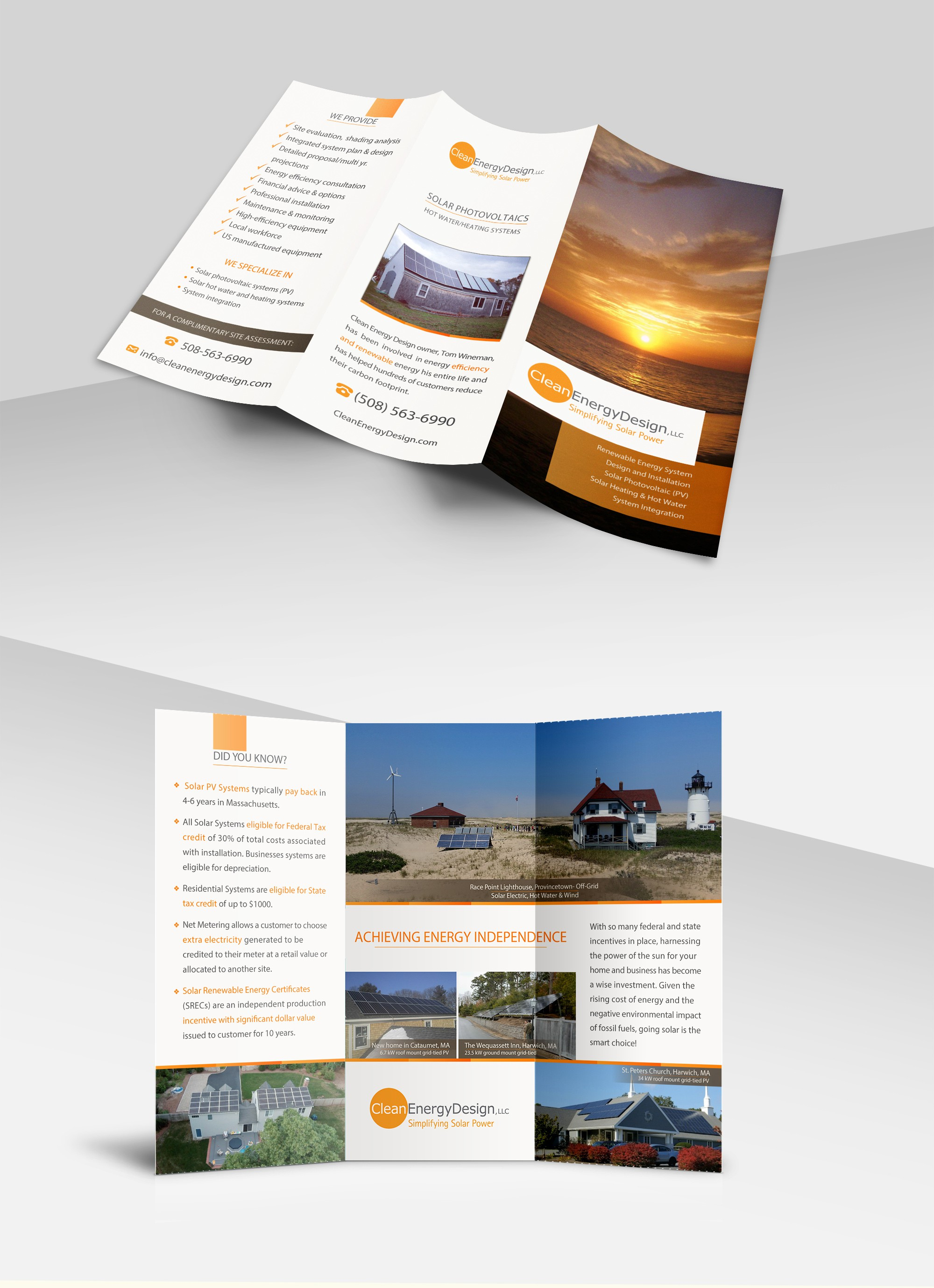 Clean Energy Design tri-fold brochure