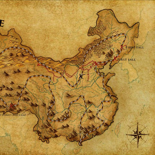 Annotated, vintage map of China for travel/adventure book