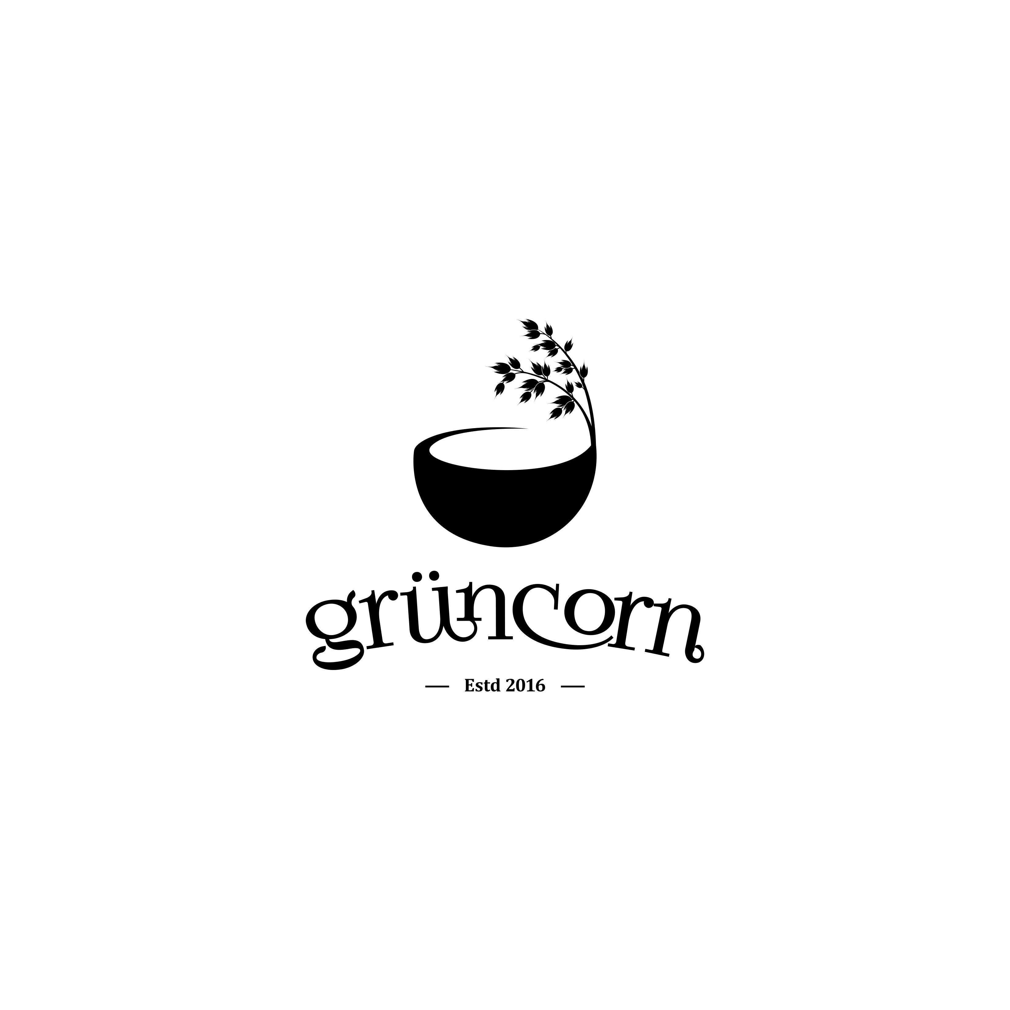Please create a nice, fresh and inviting logo for a new Food-Start-up called grüncorn