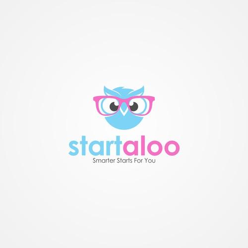 Nerdy owl logo concept for Startaloo