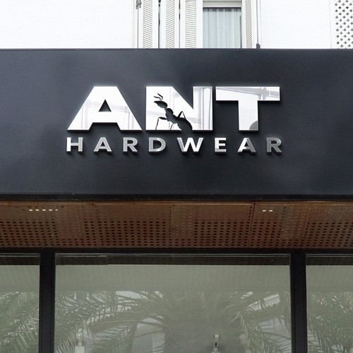 negative space ant logo