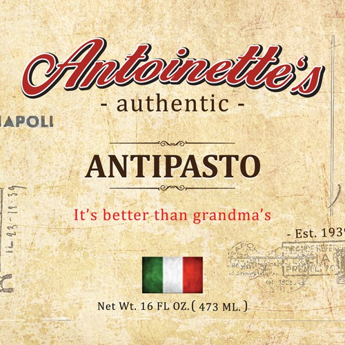 Create an eye catching label for our soon to be famous antipasto!
