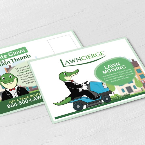 Design a clean, modern mailer for a landscaping company