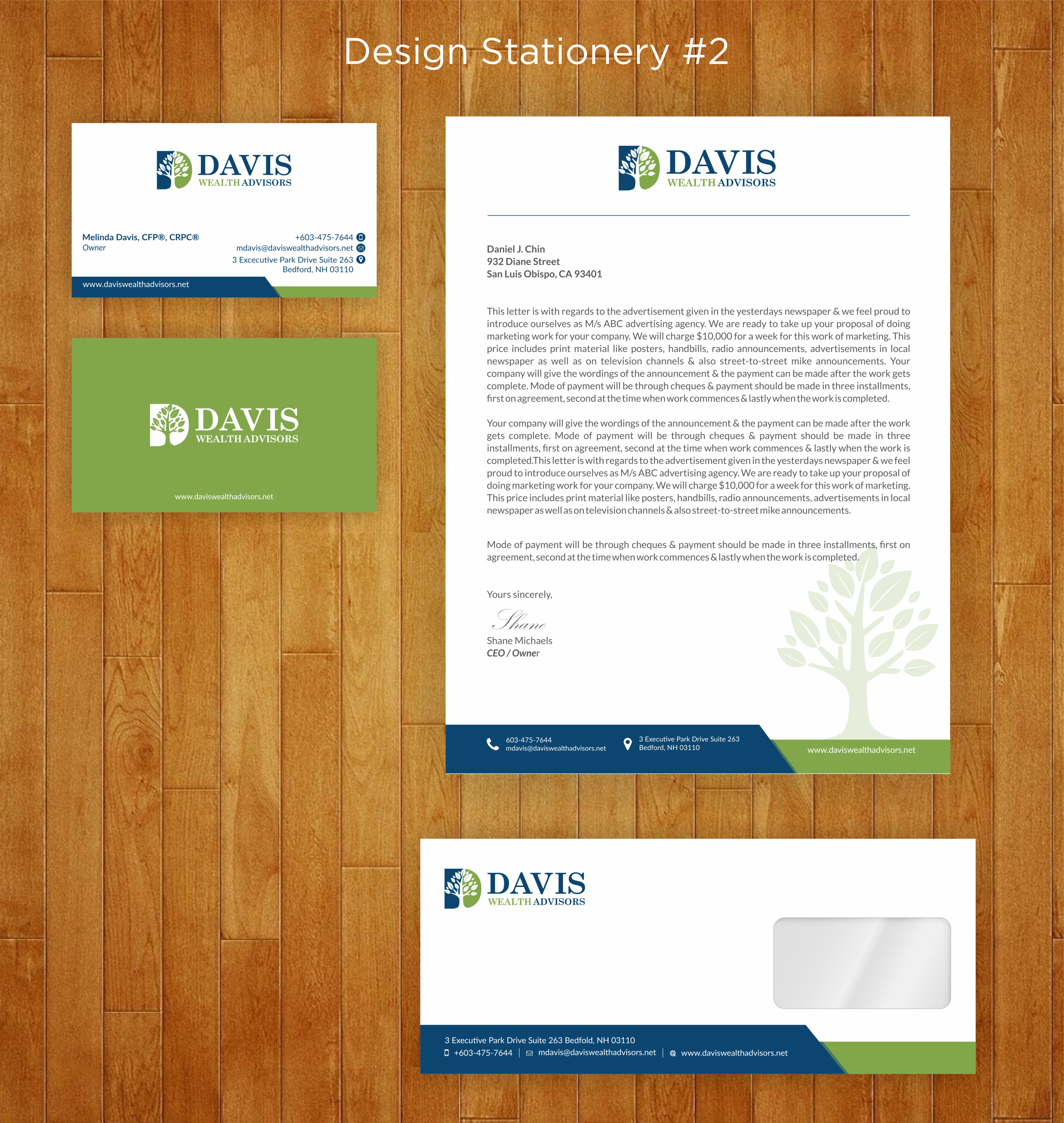 Harness your creative talent to launch the Davis Wealth Advisors Brand