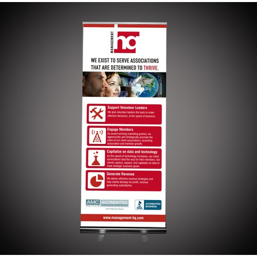 Create a compelling trade show banner for Management HQ