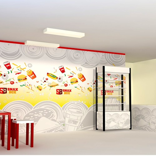 Design wall graphics and theme concept for Snax Box cafeteria