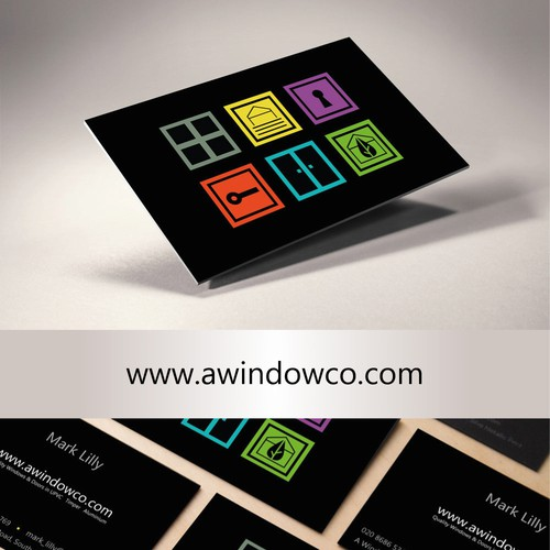 Flat design Business Card communicates products and choice at a glance.