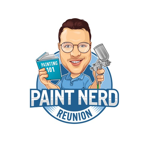 Nerdy caricature for annual gathering of painters