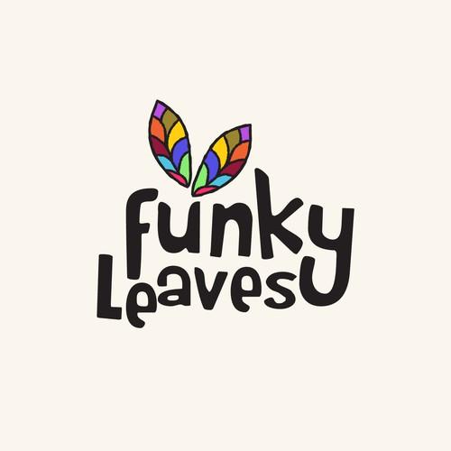 funky leaves logo design