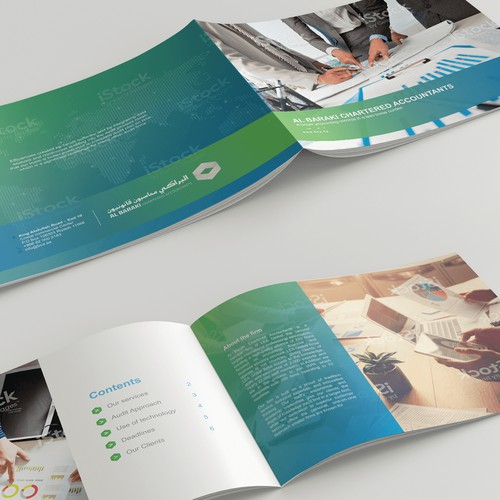 "Sharp and professional brochure for ""Al Baraki Chartered Accountants"""