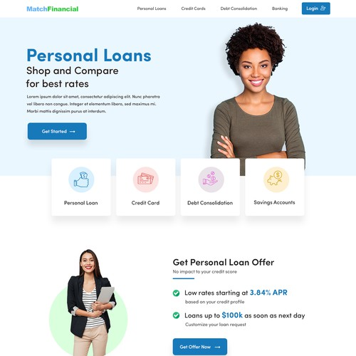 Match Financial Home Page Concept