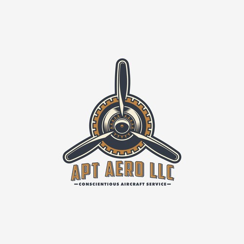 A classic themed logo for aircraft service.