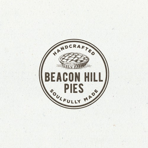 Hand drawn logo design for Beacon Hill Pies