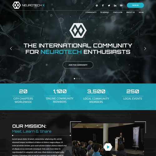 Website design concept for NeuroTech X