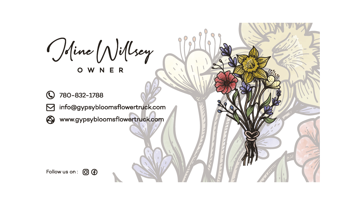 Business card for Gypsy Blooms
