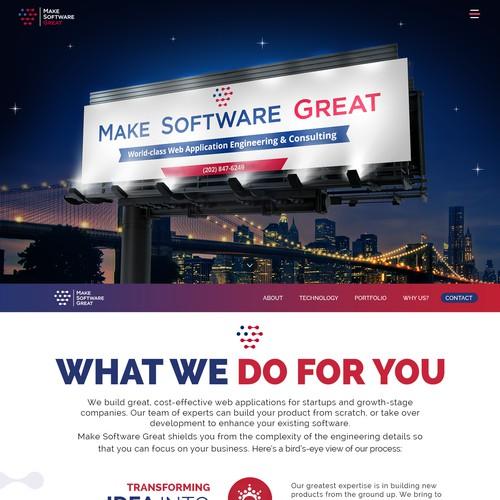 bold & revolutionary website for software company
